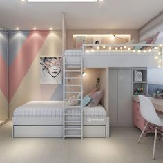 Check out these inspiring colour and pattern combinations, gorgeous furniture ideas and clever finishing touches. Teen Bedroom Designs, Bedroom Decor For Teen Girls, Cute Bedroom Ideas, Room Ideas Bedroom, Teen Room Decor, Small Room Bedroom, Awesome Bedrooms, Cool Rooms, Beautiful Bedrooms