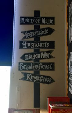 Chalk board signs on the wall in my book corner. Harry Potter themed. Signs purchased at hobbycraft, I used a chalk pen to write the words on.