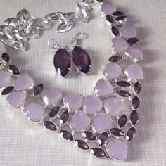SALE rose Quartz fctd African Amethyst 925 errngs Stunningly beautiful is no one like this unique handcrafted silver overlay  18' necklace w carat total weight of 625  lab created FREE amethyst earrings with purchase   Around 1'5 inches long NWOT Jewelry Necklaces