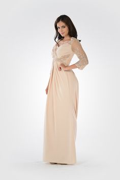 ea97e6035c POLY USA - Style 7812 - Stretchy crepe and mesh dress with lace applique  and stones