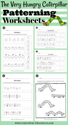 Download The Very Hungry Caterpillar math activities on patterning for preschool, pre-k or kindergarten.  Practice to continue AB, AAB, ABB, AABB and ABC patterns.  Visit www.LittleDotsEducation.com for more preschool resources