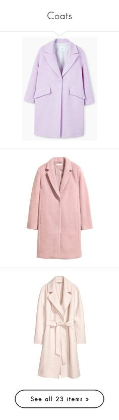 """Coats"" by egorova-tatiana on Polyvore featuring outerwear, coats, fur-lined coats, purple wool coat, wool lined coat, lapels wool coat, purple coat, short coat, pink coat and h&m coats"