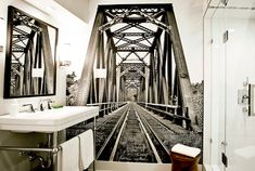 Effective wall and room design with photo wallpaper industrial bathroom interior in black and white with bathroom mirror in black mirror frame, tubular Photo Wallpaper, Cool Wallpaper, Wallpaper Murals, Industrial Bathroom, Bathroom Interior, Tubular Steel, Black Mirror, Vintage Photos, Digital Prints