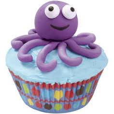 Outstanding Octopus Cupcakes - Your young decorators will welcome these cupcakes with open arms! They're so easy—use violet fondant from the Wilton Kids Create-N-Color Kit™ to shape the arms and head, then add Candy Eyeballs for that adorable aquatic face.