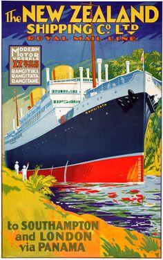Vintage travel poster for the three modern New Zealand Shipping Company vessels Rangitiki, Rangitata and Rangitane Retro Poster, Art Deco Posters, Vintage Travel Posters, Party Vintage, Tourism Poster, Vintage Boats, Old Advertisements, Advertising Poster, Travel And Tourism