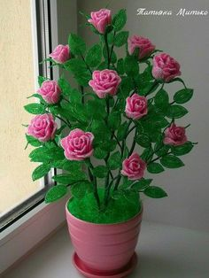 Learn To Make Easy Rose Crochet Flowers Seed Bead Flowers, French Beaded Flowers, Wire Flowers, Paper Flowers, Beaded Flowers Patterns, Crochet Flower Patterns, Crochet Flowers, Beading Patterns, Wire Crafts