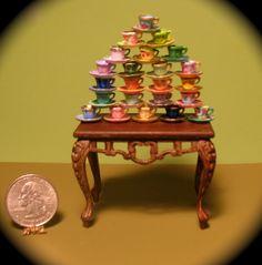 Professor Trelaney's Tea Cup Collection. 1:12 scale miniature.
