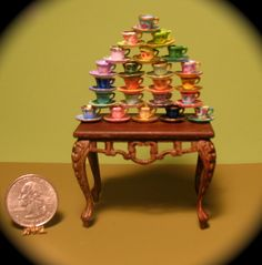 Professor Trelaney's Tea Cup Collection.  1:12 scale miniature.  http://patriciapaulminis.etsy.com