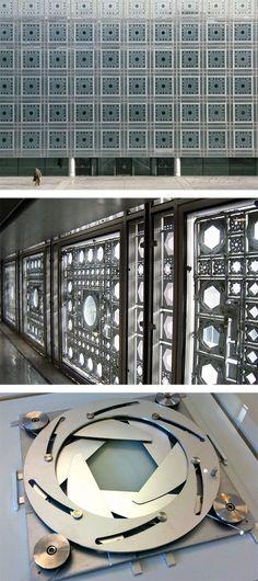 Institut du Monde Arabe, Paris. Jean Nouvel (1987). http://www.archdaily.com/162101/ad-classics-institut-du-monde-arabe-jean-nouvel/ http://www.galinsky.com/buildings/ima/ #classicalarchitecture