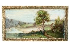 Victorian Landscape Oil Painting on Wood