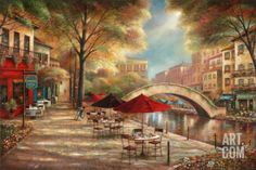 Riverwalk Café Print by Ruane Manning at Art.com... Something so beautiful about the color and light in this painting.