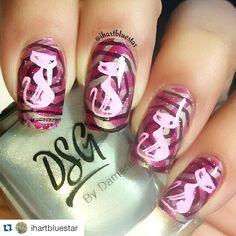 """#Repost @ihartbluestar with @repostapp. ・・・ Cats!!! Stamping over Watermarble Nail Art :  Products used :  @dsg_nails KAMO and CALI RAISIN  @faburnails…"" Cat Nails, Raisin, Cali, Stamping, Nailart, Manicure, Instagram, Products, Nail Bar"