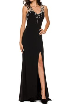 Evening Long Dress JT596 Long Sheath Shape Evening Dress with V Neck, Sleeveless, Illusion Open Back with Hand Beaded Embroidery and Gemstone Embellishment, Zipper Closure, Solid Color Floor Length Skirt featuring Above Knee Length Slit. https://www.smcfashion.com/wholesale-evening-dresses/evening-long-dress-jt596