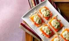 Canapé de cenoura e pasta de manjericão