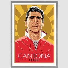 Colourful Art Deco style Eric Cantona portrait. Reflects Erics imperious nature…
