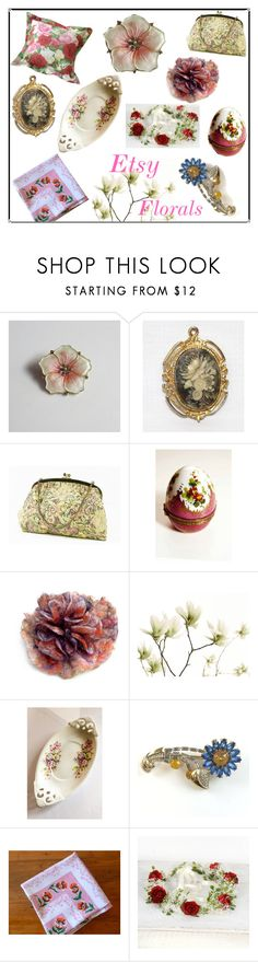 """""""Etsy Florals"""" by muskrosevintage ❤ liked on Polyvore featuring Aksel and vintage"""