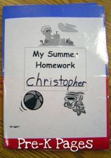 ideas for a summer homework folder for use in pre-k or kindergarten via www.pre-kpages.com