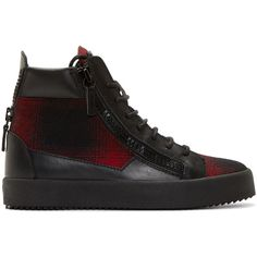 Giuseppe Zanotti Red Plaid London High-Top Sneakers ($620) ❤ liked on Polyvore featuring shoes, sneakers, hi tops, lace up sneakers, giuseppe zanotti sneakers, red trainer y red high top sneakers