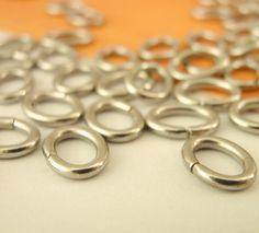 50 Stainless Steel OVAL Jump Rings -  You Choose 18, 16, or 15 gauge - Best…