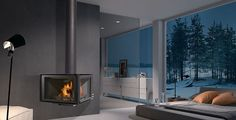 Wood fireplace / contemporary / closed hearth / wall-mounted VERTEX ROCAL
