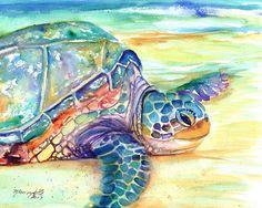 Sea Turtle Fine Art Print 8x10  Kauai Art Turtles Hawaiian