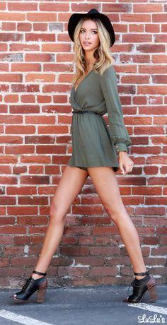 Olive Green Romper via lulus.com!