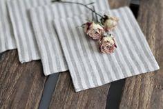 ON SALE SET of 4 Striped white/grey gray Linen coasters by RPlinen