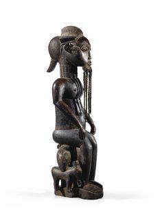 Statue d'homme assis, Baulé, Côte d'Ivoire BAULE SEATED MALE FIGURE, IVORY COAST haut. 71 cm