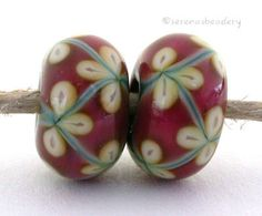 Lampwork Flower Glass Bead Pairs COPPER Green and PINK by taneres