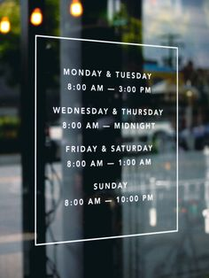 Tangent Café Window Display | Hours