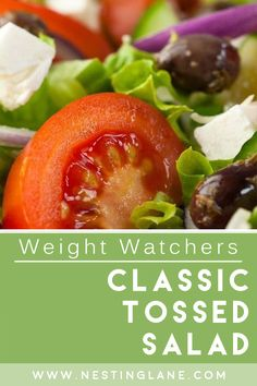 Weight Watchers Classic Tossed Salad Recipe. An easy appetizer recipe that pairs well with many main dishes. Simple and healthy, this recipe is filled with vegetables and flavor. Customize it to your taste by adding, or subtracting any ingredient. MyWW Points: 7 Green Plan, 7 Smart Points. Weight Watchers Appetizers, Weight Watchers Vegetarian, Weight Watchers Salad, Italian Appetizers, Easy Appetizer Recipes, New Recipes, Salad Recipes, Healthy Recipes, Types Of Vegetables