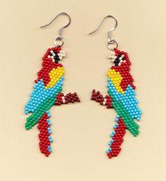 Beaded Macaw Parrot Earrings