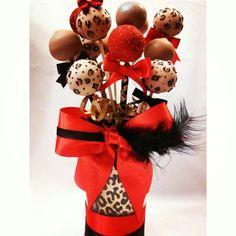 Leopard birthday cake pop vase