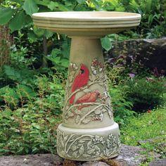 Have to have it. Burley Clay Hand Painted Summer Cardinal Ceramic Bird Bath - $91.99 @hayneedle