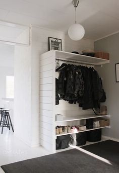 storage solutions small bedrooms without a closet large size of closet clothes organizer clothes rack no closet solutions storage solutions for small bedroom closets Coat Closet Organization, Storage Organization, Storage Shelves, Clothes Storage Ideas Without A Closet, Hallway Coat Storage, Storage Closets, Clothing Storage, Rack Shelf, Bedroom Organization