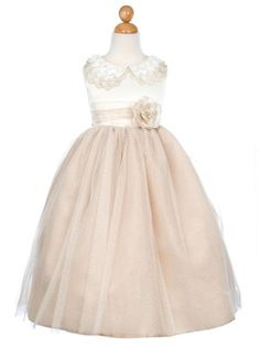 LOVE this!!!! $49.99? Champagne Embroidered Lace Collar Satin Bodice Girl Dress (size 2-12)