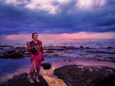 Watching the crashing waves near Tanah Lot temple (Land in the Sea) in Bali, a temple located offshore, so you have to actually walk across rocks in the ocean to get there!! It's unique in that it's actually a natural rock formation turned into a temple! ✌💕🌸🌸⛅👋💕💞  .