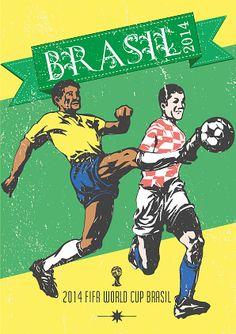 FIFA World Cup Brasil 2014 Vintage Poster design. Tobias Siegel · Copa del  Mundo Posters 4971180388928