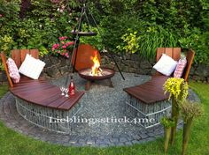 Our new barbecue area was a challenge this year. - Our new barbecue area was a challenge this year. Round gabion benches should be there, with removab - Garden Yard Ideas, Garden Art, Garden Design, Home And Garden, Bbq Area Garden, Diy Garden, Patio, Backyard, Barbecue Area
