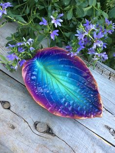 Jewelry dish or catchall bowl - Concrete cast Hosta leaf in blues and pinks
