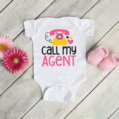 Call My Agent Cute Funny Adorable Baby Girl Onesie® Perfect image 0 Cute Baby Onesies, Cute Baby Clothes, Baby F, Cute Baby Girl, Funny Babies, Cute Babies, Call My Agent, Baby In Pumpkin, Funny Outfits