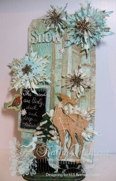Winter Snowflakes Mixed Media tag made with Deco Art chalky finish paint and Tim Holtz dies.