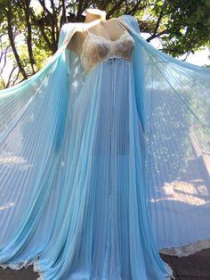 2718bfbc44b8 Items similar to Spectacular 1970's Lucie Ann Blue Pleated Peignoir Robe &  Nightgown Set on Etsy