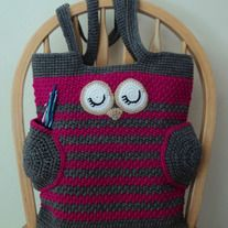 This is a PDF file, not a finished item.  Crochet this cute Sleepy Owl Tote for yourself, a friend, or to sell the finished bag !! :)  You can use it as a book bag, a cute diaper bag or just as a regular every day purse to carry your things in it!  The wings of the owl also work as useful pockets!    The finished bag that you can crochet...