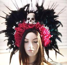 Voodoo headdress velvet red roses black feathers by pamzylove
