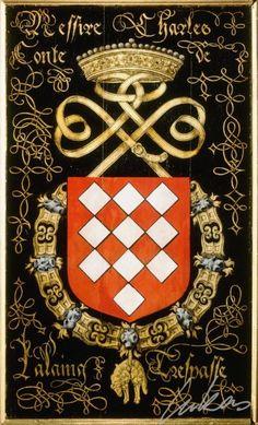 """(183) Charles, 2e comte de LALAING (1506-1558) -- """"Messire Charles, conte de Lalaing. Trespasse"""" -- Armorial plate from the Order of the Golden Fleece, 1559, Saint Bavo Cathedral, Gent -- Panneau de trépassé."""