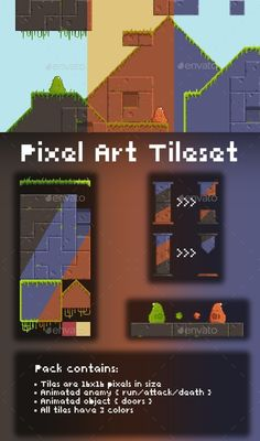 Buy Pixel Art Tileset by WNGames on GraphicRiver. Pack contains: - Tiles are pixels in size - All tiles have 3 colors - Animated enemy ( run/attack/death ) - Ani. Game Design, Design Art, Graphic Design, How To Pixel Art, Set Game, Game Dev, 2d Game Art, Pixel Art Games, Pixel Design