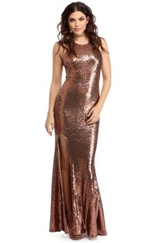 "Bronze sequin dress (prom)  <p>Indulgence in a taste of the glitzy and glamorous life with our Anaya dress! She features a round neckline, an X back with narrow straps, a hidden back zipper, a high front leg slit and a sparkling sequin fabric. </p>  <p></p>  <p><em>Model is 5'9 with a 32"" bust, 25"" waist and 35"" hips. She is wearing a size small.</em><&..."