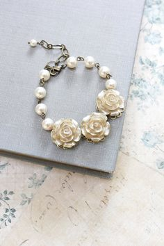 Bridal Bracelet Gold Rose Bracelet Ivory Cream by apocketofposies
