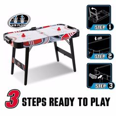 Air Hockey Table FOLDABLE Powered 48 Inch LED Scorrer - 3 STEPS READY to PLAY #MDSports